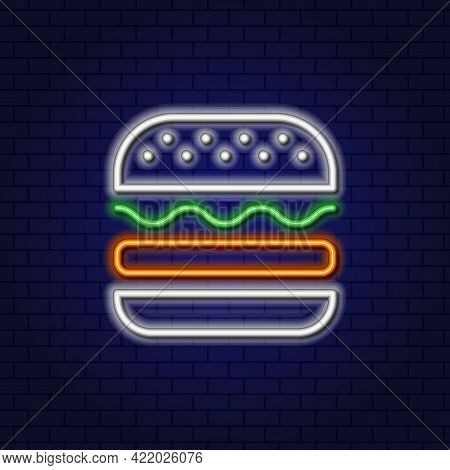 Neon Burger With Cutlet, Lettuce And Sesame Seed Bun. Fast Food Concept. Glowing Neon Linear Design