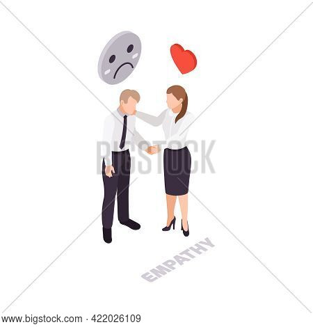 Soft Skills Empathy Isometric Icon With Woman Calming Her Colleague 3d Vector Illustration
