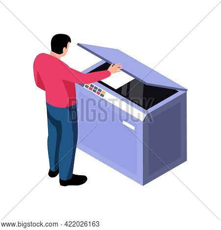 Polygraphy Isometric Icon With Human Character And Professional Printing Equipment Vector Illustrati