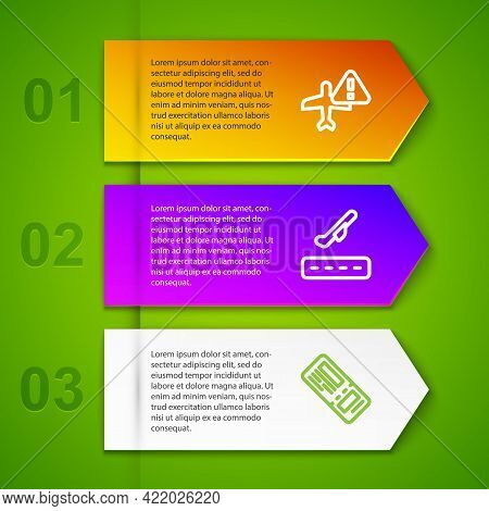 Set Line Warning Aircraft, Plane Takeoff And Airline Ticket. Business Infographic Template. Vector