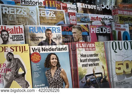 Amsterdam, The Netherlands - Novemher 19,2017: Various Magazines In A Kiosk: Playboy, Quote, Lifesty