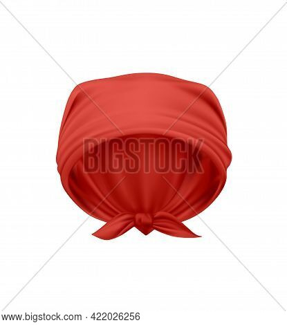Elegant Red Kerchief Knotted On Head Realistic Vector Illustration