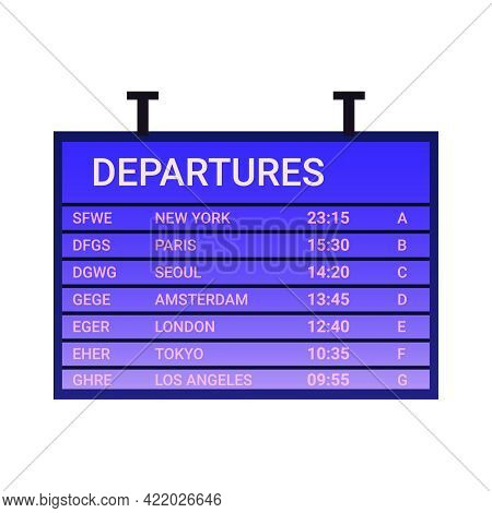 Flat Icon With Airport Departure Board Showing Flight Destination Gate And Time Vector Illustration