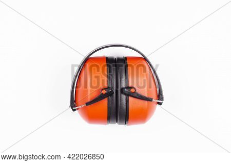 Noise Canceling Ear Protectors. For Hearing Protection. Noise Canceling. On White Background.