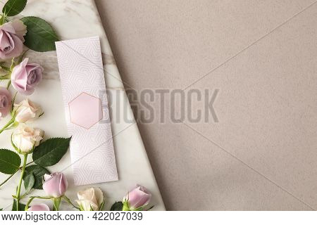 Scented Sachet And Roses On Grey Background, Top View. Space For Text