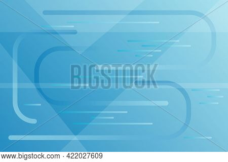Abstract Horizontal Modern Background In Blue Tones. Geometric Shapes And Lines In Digital Or Techno