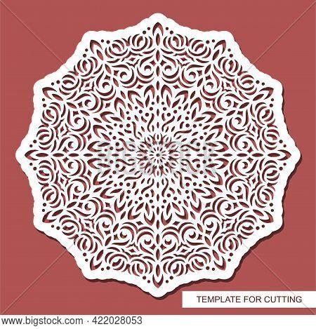Mandala Stencil. Round Pattern, Floral Ornament, Oriental Decoration. Layout For Plotter Laser Cutti