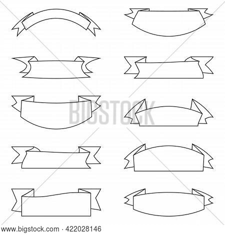 Ribbon Banners Collection. Black And White Contour Retro Ribbons. Banners For Decoration, Postcard,