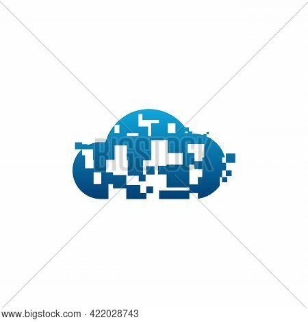 Pixel Cloud Logo Designs Concept Vector, Cloud Tech Logo Template, Technology Logo Symbol Icon Templ