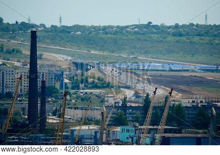 Kerch,crimea - 17 05 2018: Photos Of Crimean Bridge -construction Of Bridge, View From Sea. Crimean