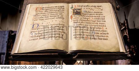 Turin, Italy - Circa May 2021: Antique Medieval Manuscript With Ancient Calligraphy.