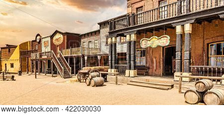 Almeria, Spain - Circa August 2020: Vintage Far West Town With Saloon. Old Wooden Architecture In Wi