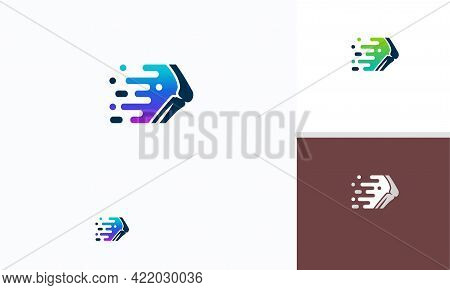 New Template 1fast Bone Logo Designs Concept Vector, Pixel Bone Logo Symbol, Knee Tech Logo Icon