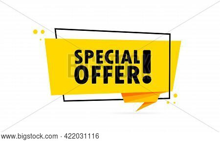 Special Offer. Origami Style Speech Bubble Banner. Sticker Design Template With Special Offer Text.
