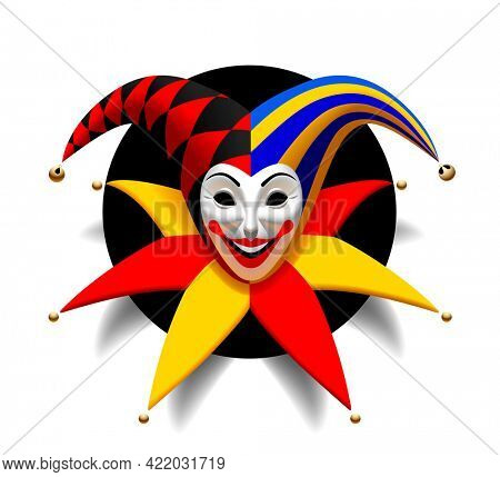 Smiling Joker head with cap and bells in a round black hole isolated on black. Three Dimensional stylized drawing. 3D illustration