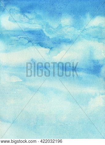 Watercolor Sky Background. Blue Sky With Clouds