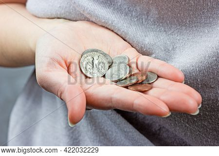Caucasian Woman Hands Holding And Counting Usa Coin Cents. Unemployment, Poverty, Savings And Budget