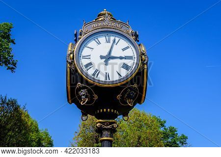 Vintage Style Black And Grey Metallic Clock Towards Clear Blue Sky In King Michael I Park (former He