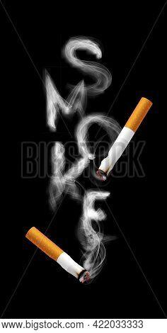 Stop Smoking Campaign Illustration No Cigarette For Health Cigarette Smoke Letters In Black Backgrou