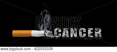 Stop Smoking Campaign Illustration No Cigarette For Health Cancer Letters Of Smoking Ashes In Black
