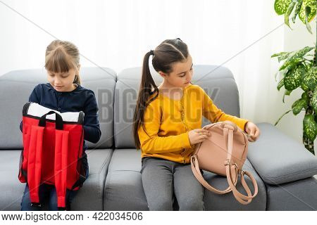 Children Go Back To School. Start Of New School Year After Summer Vacation. Girls With Backpack And