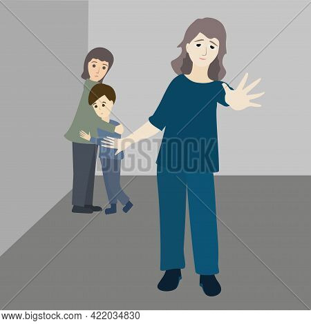 Stop Violence Against Child. Strong Mother Protects Her Kids. Scared Girl And Boy Stand In The Corne