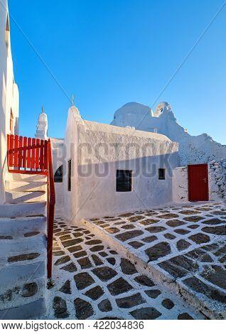 Backyard Of Main Tourist Landmark, Mykonos, Greece, White Greek Orthodox Church Of Panagia Paraporti