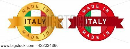 Made In Italy Label Stamp For Product Manufactured By Italian Company Seal Golden Ribbon And Flag