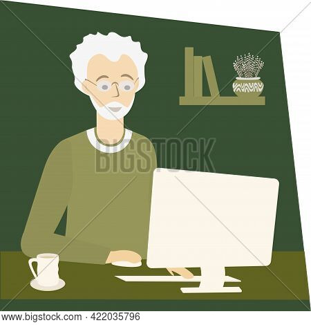 Old Man Work At Home. Elderly Freelancer Using Computer. Freelance Work For Everyone Concept. Isolat