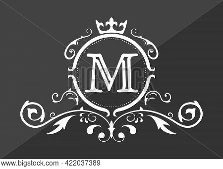 Stylized Letter M Of The Latin Alphabet. Monogram Template With Ornament And Crown For Design Of Ial