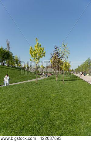Krasnodar, Russia-may 02, 2021: People Relax And Walk Along The Paths In The Popular Krasnodar Park
