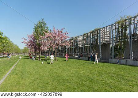 Krasnodar, Russia-may 02, 2021: People On The Lawn In The Popular City Park Krasnodar