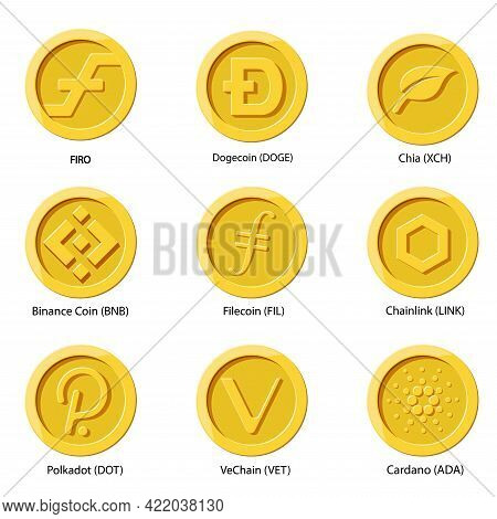 Crypto Currency Icons Coin. Set Of Digital Money For Apps, Websites Or Logo. Flat Vector Illustratio