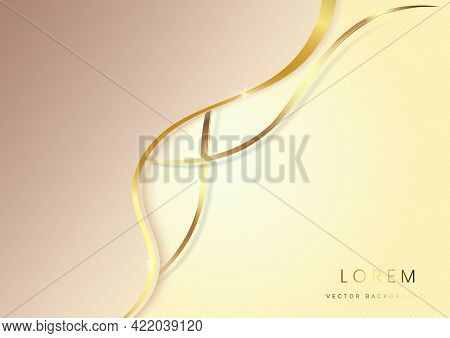 Abstract Luxury Background 3d Overlapping With Gold Lines Curve. Luxury Style. Vector Illustration