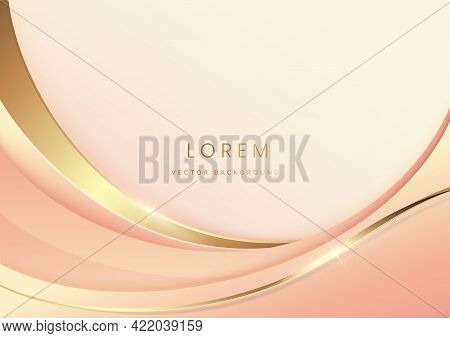 Abstract Luxury Background 3d Overlapping With Gold Lines Curve With Copy Space. Luxury Style. Vecto