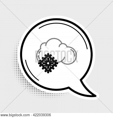 Line Cloud With Snow Icon Isolated On Grey Background. Cloud With Snowflakes. Single Weather Icon. S