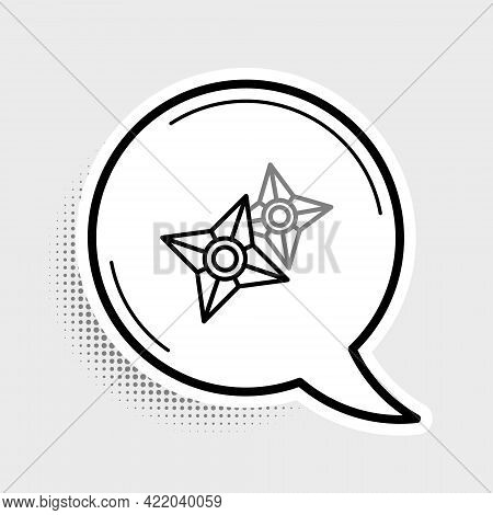 Line Japanese Ninja Shuriken Icon Isolated On Grey Background. Colorful Outline Concept. Vector