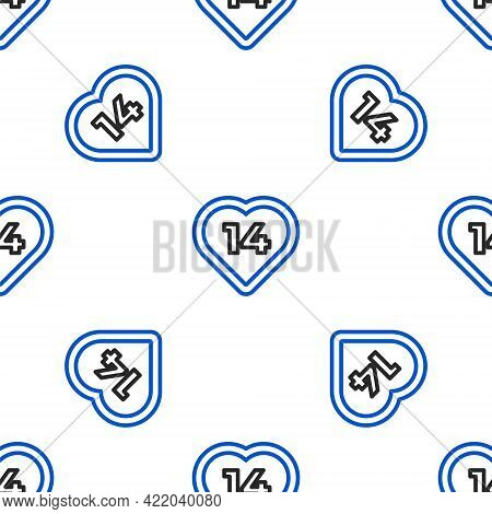 Line Heart Icon Isolated Seamless Pattern On White Background. Romantic Symbol Linked, Join, Passion