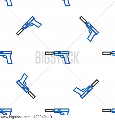 Line Pistol Or Gun With Silencer Icon Isolated Seamless Pattern On White Background. Colorful Outlin