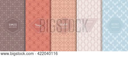 Abstract Geometric Seamless Patterns. Vector Set Of Stylish Pastel Backgrounds With Elegant Minimal