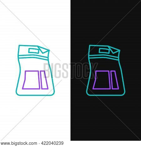 Line Cement Bag Icon Isolated On White And Black Background. Colorful Outline Concept. Vector