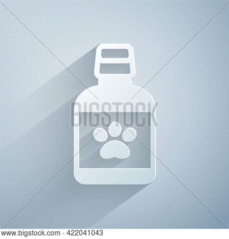 Paper Cut Dog Medicine Bottle Icon Isolated On Grey Background. Container With Pills. Prescription M