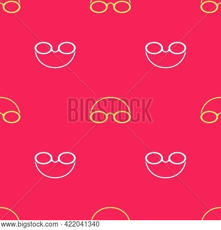Yellow Glasses And Cap For Swimming Icon Isolated Seamless Pattern On Red Background. Swimming Cap A
