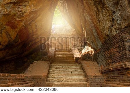 The Narrow Pathway To Sigiriya The Unesco Ancient Fortress In Sri Lanka. The Palace And Fortress Com