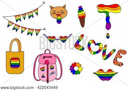 Lgbt Pride Month. Vector Collection Of Lgbtq Community Symbols With Gender Elements. Pride Month Con