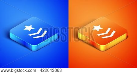 Isometric Military Rank Icon Isolated On Blue And Orange Background. Military Badge Sign. Square But