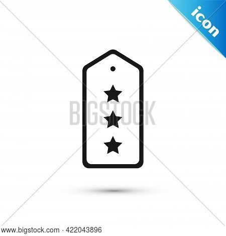 Grey Military Rank Icon Isolated On White Background. Military Badge Sign. Vector