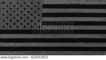 Usa Flag, Hand-drawn With A Pencil. Black And Grey Inverted Dark Background, Wallpaper Or Backdrop.