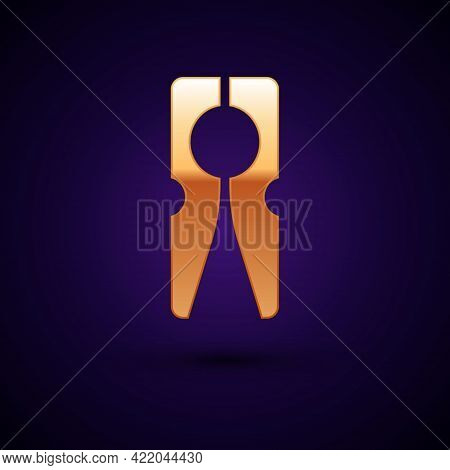 Gold Old Wood Clothes Pin Icon Isolated On Black Background. Clothes Peg. Vector