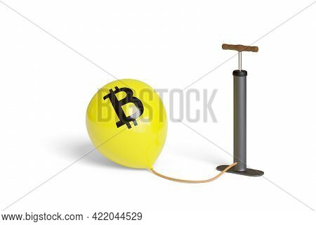 Inflator Inflating A Balloon With Bitcoin Sign Isolated On White Background. 3d Illustration.